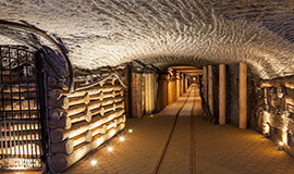 A picture of corridor formed in the salt mine by workers.