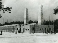 Chimneys of crematory in Auschwitz