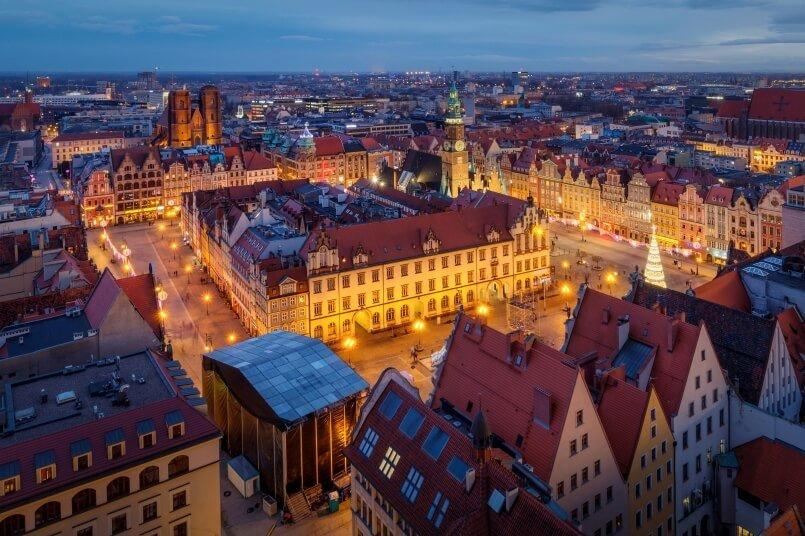 Wrocław at night