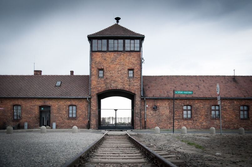 Railway tracks and the gate to Auschwitz