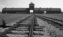 A picture of where prisoners disembarked the cattle trains in front of the Birkenau entrance